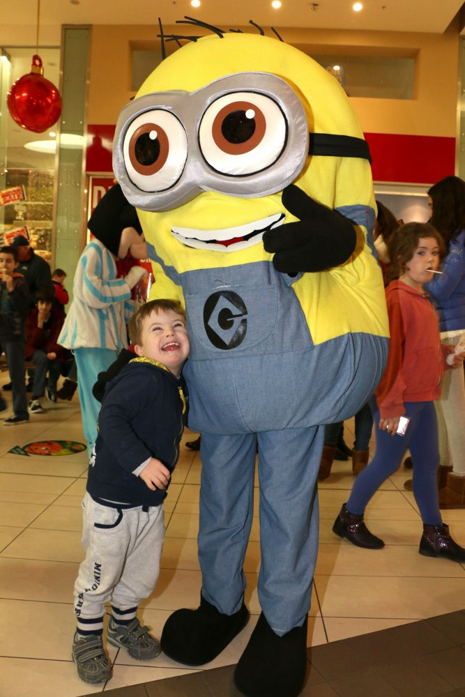Cian meets his superhero - The Minion at Ballincollig Shopping Centre Picture: Ailish Murphy