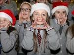 Gaelscoil Ui Riordain choir entertaining the crowds at Ballincollig Shopping Centre Picture: Ailish Murphy