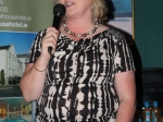Emer Cassidy, Chairperson of Ballincollig Business association making a speech at the  annual Golf Classic