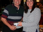Nearest to pin winner, Martin Hackett receives his prize from Nicola O' Mahoney at the recent annual Business Association Golf Classic